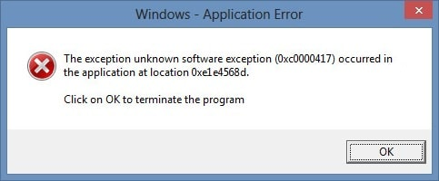 Fix The exception unknown software exception (0xc0000417) occurred in the application