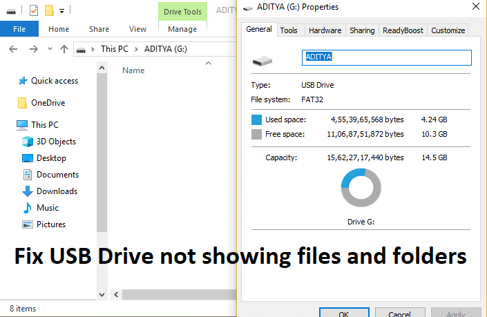 [FIXED] USB Drive not showing files and folders